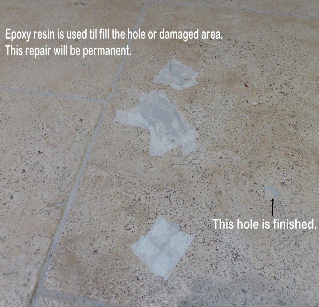 Filling holes in travertine floor tile