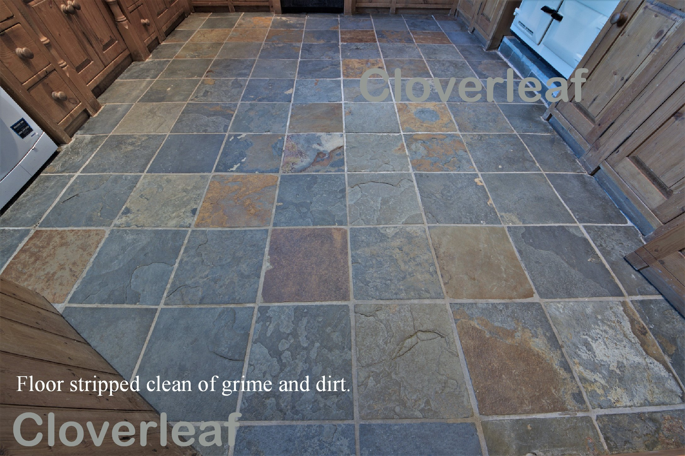 slate floor cleaned