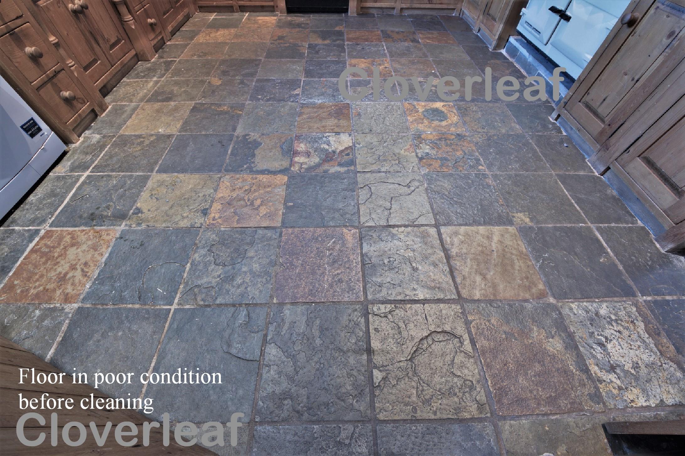 slate floor dirty