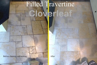 filled travertine floor cleaned