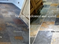 slate floor cleaned and sealed
