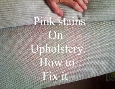 how to remove pink stains on sofas , chairs and upholstery after cleaning and spillages