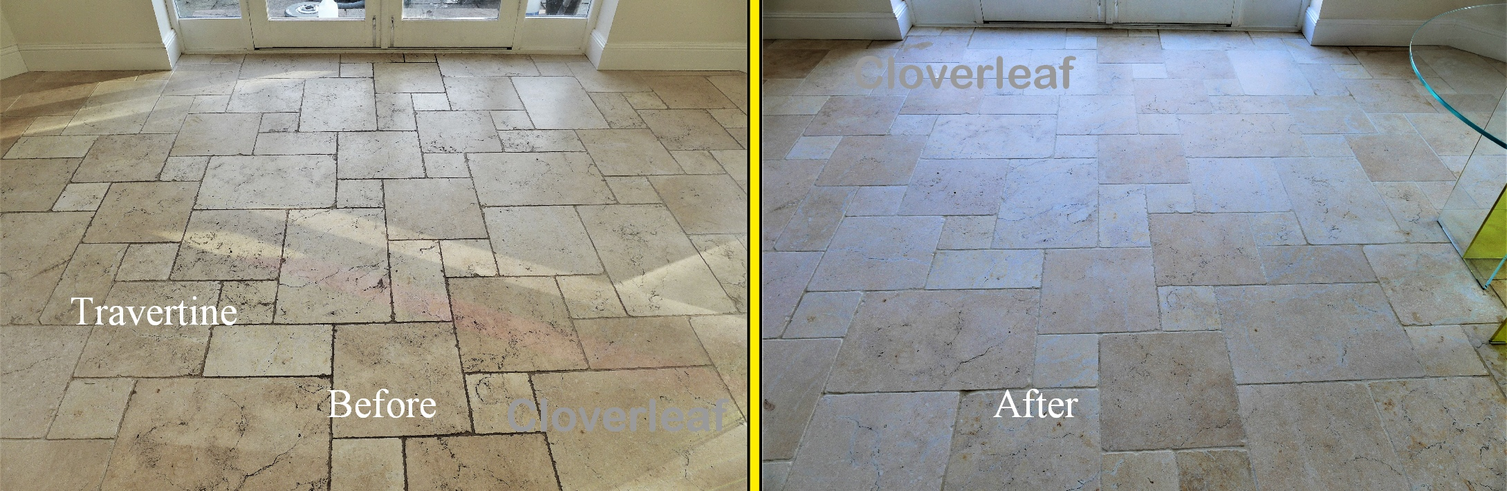 Travertine stone tiles cleaned in Cheshire