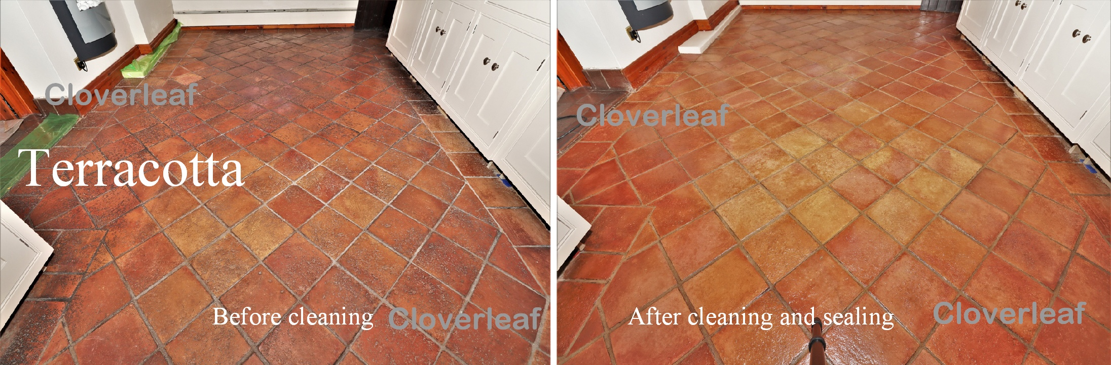 Terracotta floor tiles before and after cleaning