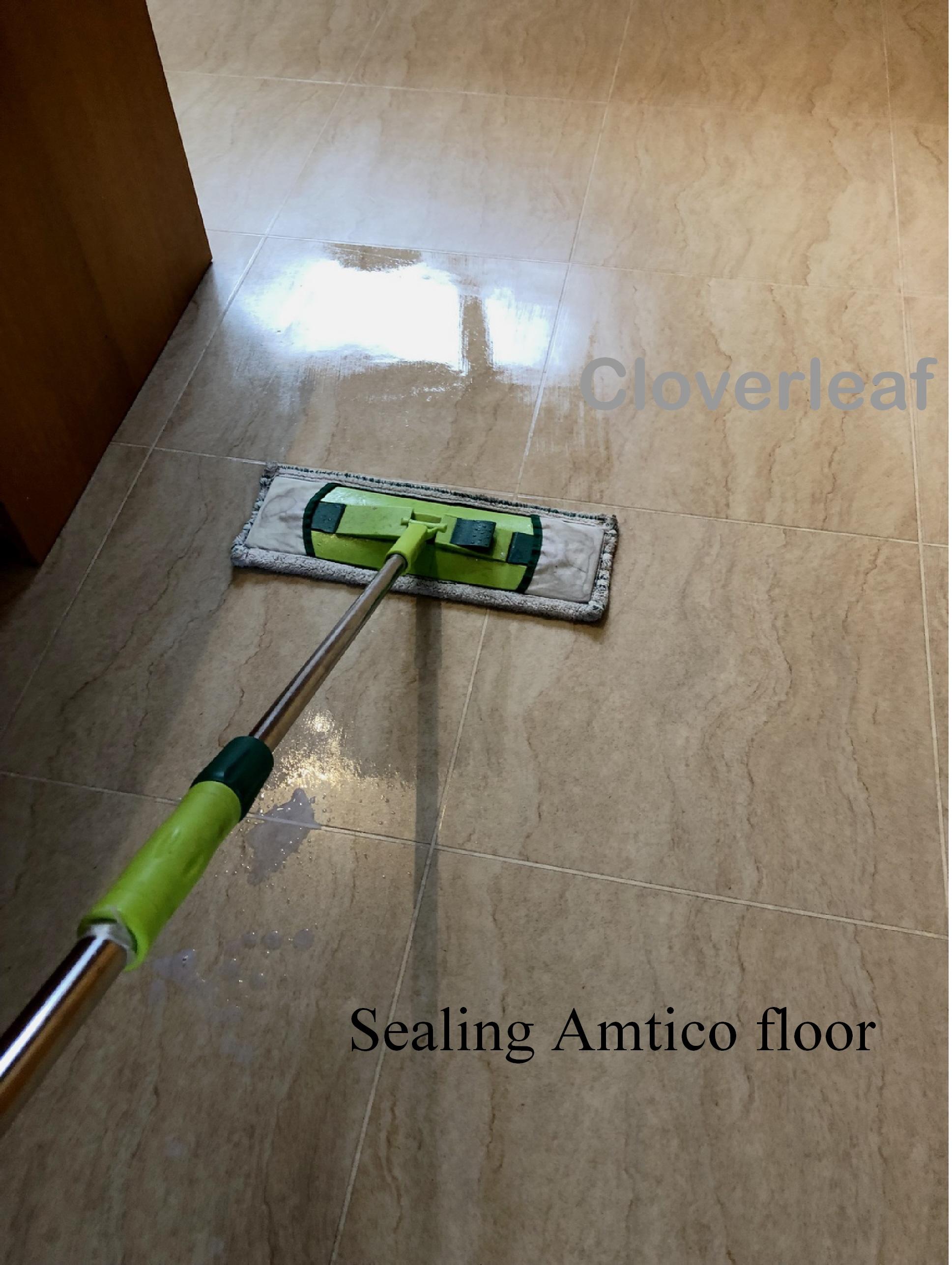 applying Amtico floor seal with mop
