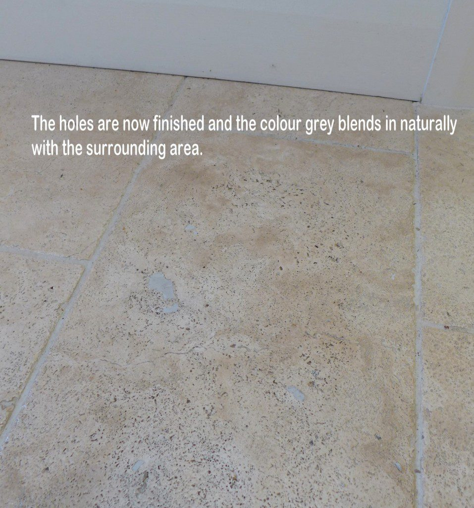 Matching colour with tenax floor filler for travertine floor tile