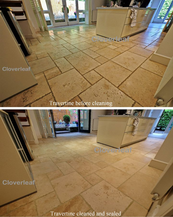 Travertine stone floor restoration