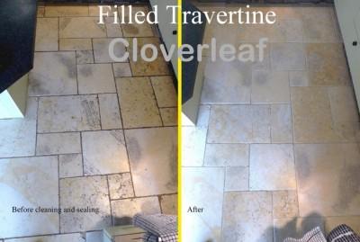 filled travertine floor cleaned
